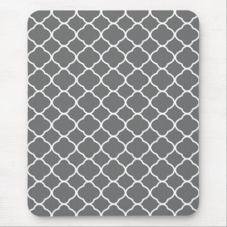 Gray Charcoal Quatrefoil Pattern Mouse Pad