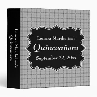 Gray Check Pattern Quinceanera 3 Ring Binder