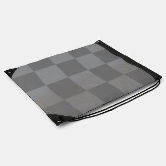Gray Checkered Flag Drawstring Backpack