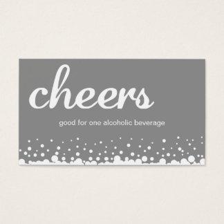 Gray cheer bubble wedding custom bar drink ticket