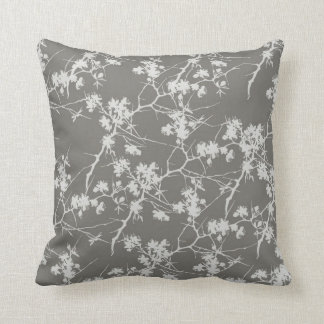 Gray Cherry Blossoms Swirl Pillow