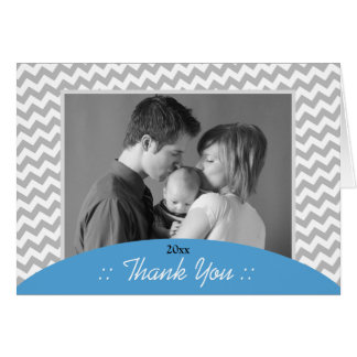 Gray Chevron and Blue Photo Thank You Cards