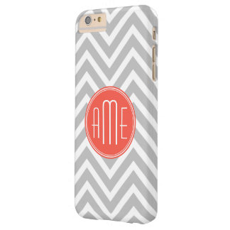 Gray Chevron and Coral Custom Monogram Barely There iPhone 6 Plus Case