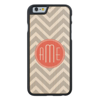 Gray Chevron and Coral Custom Monogram Carved® Maple iPhone 6 Slim Case
