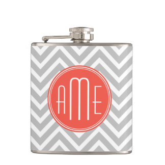 Gray Chevron and Coral Custom Monogram Flasks