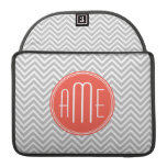 Gray Chevron and Coral Custom Monogram Sleeves For MacBooks