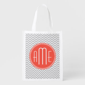 Gray Chevron and Coral Custom Monogram Reusable Grocery Bag
