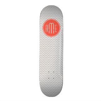 Gray Chevron and Coral Custom Monogram Skateboard
