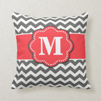 Gray Chevron and Coral Monogram Pillow