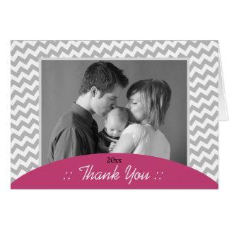 Gray Chevron and Fuchsia Photo Thank You Cards