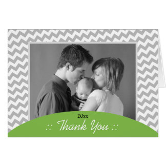 Gray Chevron and Green Photo Thank You Cards