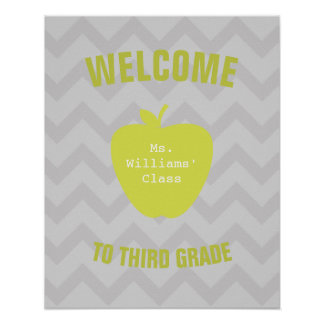 Gray Chevron and Neon Apple Classroom Poster