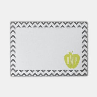 Gray Chevron And Neon Apple Monogram Teacher Post-it® Notes