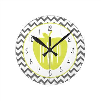 Gray Chevron And Neon Apple Monogram Teacher Round Clock