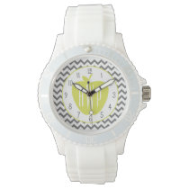 Gray Chevron And Neon Apple Monogram Teacher Wrist Watch