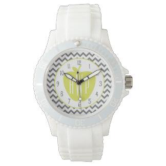 Gray Chevron And Neon Apple Monogram Teacher Wrist Watches