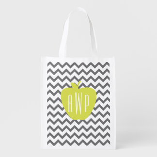 Gray Chevron And Neon Apple Monogram Teacher Grocery Bags