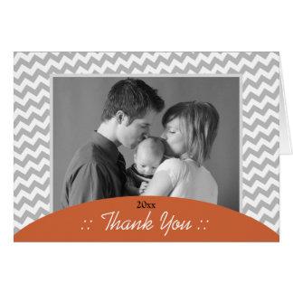 Gray Chevron and Orange Photo Thank You Cards