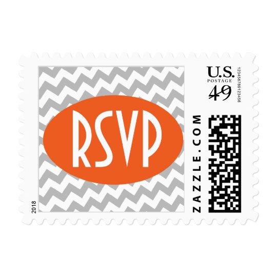 Gray Chevron and Orange RSVP Postage Stamps