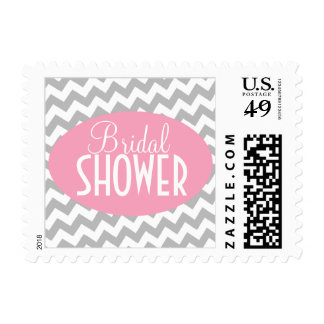 Gray Chevron and Pink Bridal Shower Postage Stamps