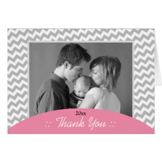 Gray Chevron and Pink Photo Thank You Cards