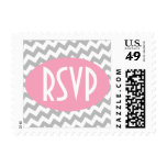 Gray Chevron and Pink RSVP Postage Stamps