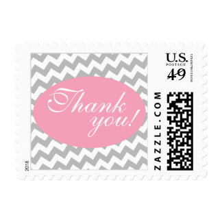 Gray Chevron and Pink Thank You Postage Stamps
