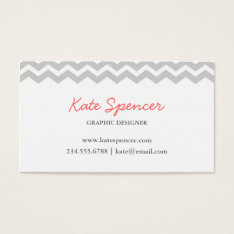 Gray Chevron And Polka Dot Business Card at Zazzle