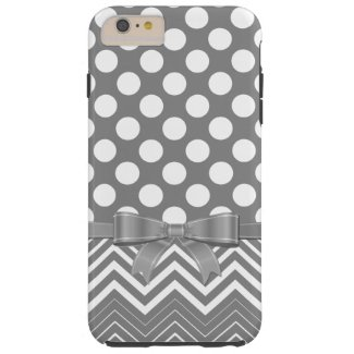 Gray Chevron And Polka Dot On A Gray Background Tough iPhone 6 Plus Case
