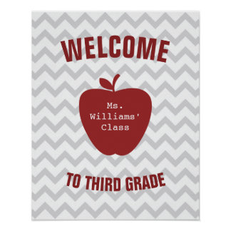 Gray Chevron and Red Apple Classroom Poster