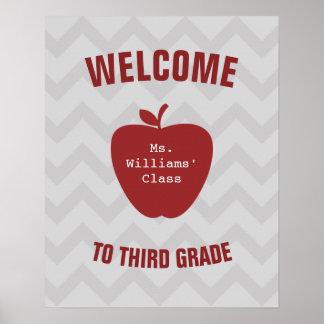 Gray Chevron and Red Apple Teacher Poster