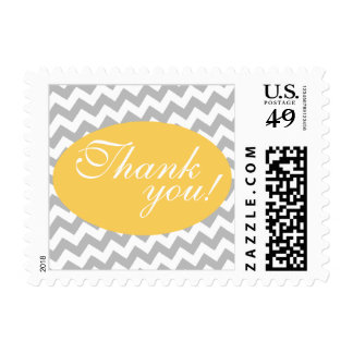 Gray Chevron and Yellow Thank You Postage Stamps