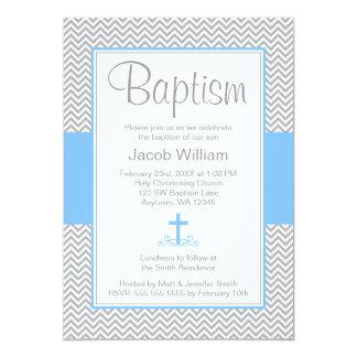 Gray Chevron Blue Cross Boy Baptism Christening 5x7 Paper Invitation Card