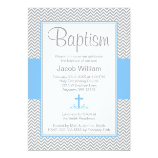 Gray Chevron Blue Cross Boy Baptism Christening Card