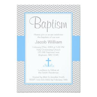 Gray Chevron Blue Cross Boy Baptism Christening Card