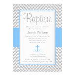 Gray Chevron Blue Cross Boy Baptism Christening Invite
