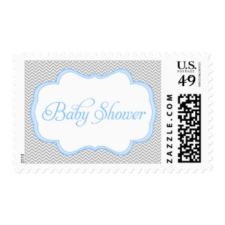 Gray Chevron Blue Frame Baby Shower Postage