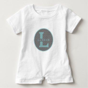 Toddler & Baby themed Gray Chevron   Blue Monogram Romper