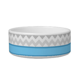 Gray Chevron Blue personalized Cat Bowl