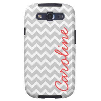 Gray Chevron Custom Monogram Galaxy S3 Covers