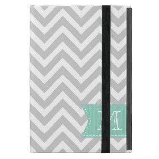 Gray Chevron Custom Monogram iPad Mini Cover