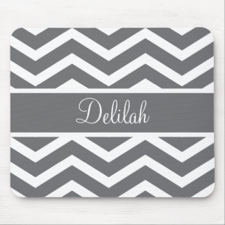 Gray Chevron Custom Name Mouse Pad