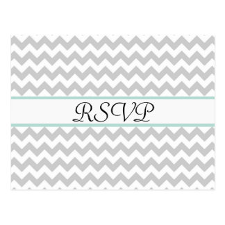 Gray Chevron Custom Wedding RSVP Post Card