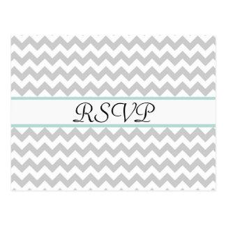 Gray Chevron Custom Wedding RSVP Post Card