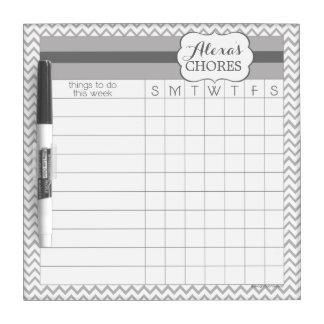Gray Chevron Dry Erase Chore Board
