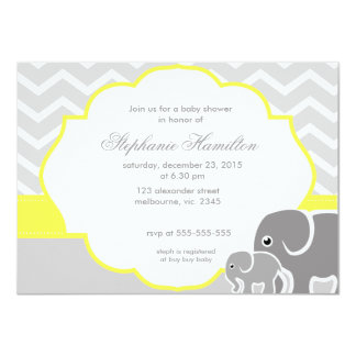 Gray  chevron elephants lemon neutral baby shower card