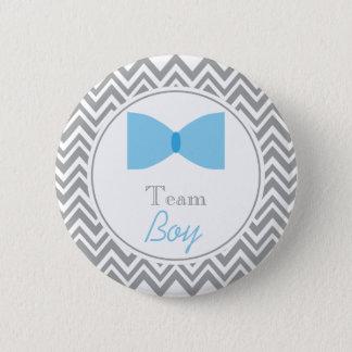 Gray Chevron Gender Reveal Bow Tie Team Boy Pinback Button