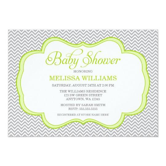 Gray Chevron Green Frame Baby Shower Invitations