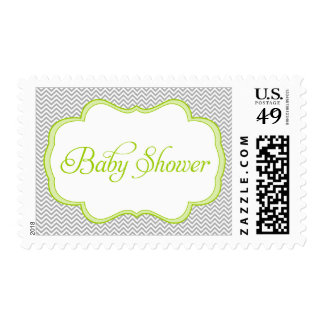 Gray Chevron Green Frame Baby Shower Stamps