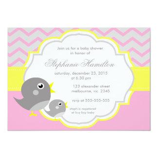 Gray chevron lemon neutral baby shower card